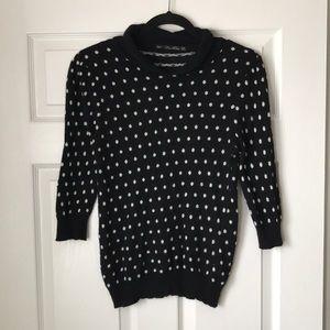 Zara knit 3/4 sleeve polka dot sweater